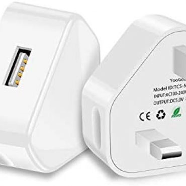 YooGoal® 2 Pack Universal 1-Port USB UK Mains Charger Shuffle Wall Adaptor for Effectively kindly with iPhone 11 Pro Max X XS MAX 8 8Plus 7 7Plus 6 6s Plus Pad Pods Samsung Google and Extra (White)