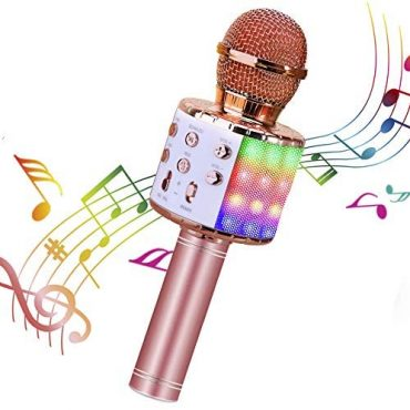 ShinePick Wireless Microphone, 4 in 1 Karaoke Bluetooth Microphone, Dancing LED Lights Portable Speaker Karaoke Machine, House KTV with File Honest, Compatible with Android iOS Devices (Pink)