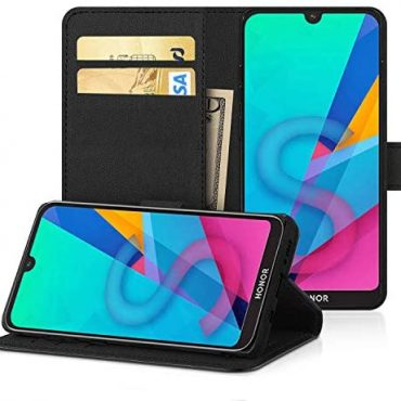 DN-Alive Honor 8S Case Hide, For Honor 8S Pu Leather [Wallet Case] [Card Holder] [ID Holder] [Flip Case] [Black] [Leather Case] [Card Slot] [Book Case] [Stand Feature] Case (BLACK)