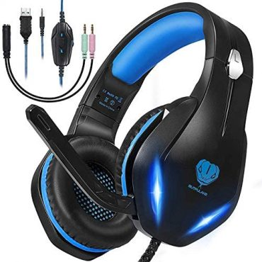 Stereo Gaming Headset with Microphone for PS5 PS4,Nintendo Switch,Xbox One,Laptops,PC,Telephones, Noise Cancelling Over Ear Headphone with Mic & LED Light, 50mm Drivers, 3.5mm Audio Jacks (Sunless Blue)