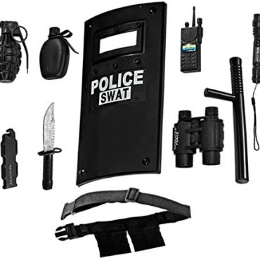Costume Up The USA All in One Police Officer Position Play Location for Formative years – Comprises Swat Defend, Adjustable Belt, Flashlight And more, Sturdy Plastic Construction, Police Power Halloween Uniform Accessories