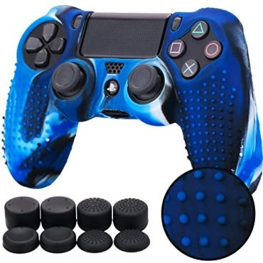 Pandaren® STUDDED silicone quilt pores and skin anti-depart for PS4/ SLIM/ PRO controller x 1(masks blue) + FPS PRO thumb grips x 8