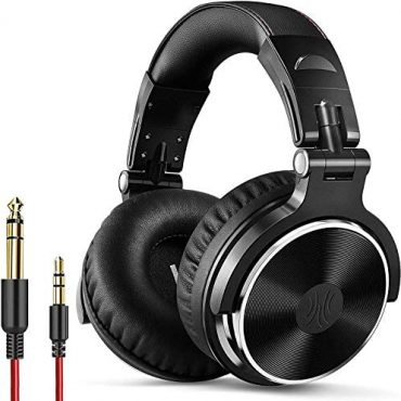 OneOdio Over Ear Headphone Studio Wired Bass Headsets with 50mm Driver, Foldable Light-weight Headphones with Shareport and Mic for DJ Recording Monitoring Mixing Podcast Guitar PC TV (Dark)