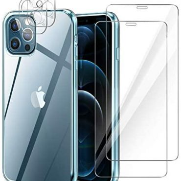 YIRSUR Case Appropriate with iPhone 12 Educated Max with 2 Pack Show veil veil Protector & 2 Pack Camera Lens Protector, Crystal Advantageous Comfy TPU Shock-Absorption Silicone Clear Protective Screen
