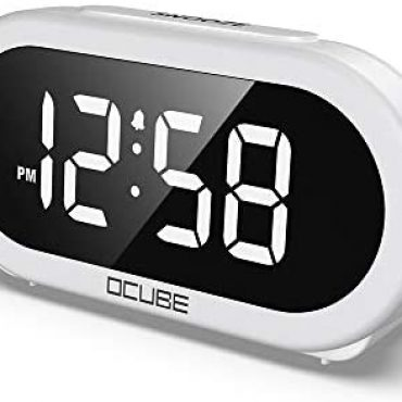 OCUBE LED Digital Scare Clock, Bedside Clock with 5 Not compulsory Scare Sounds, USB Charging Port, Plump-Differ Brightness Dimmer, Gigantic White Digit Prove, Snooze, Adjustable Scare Volume, Mains Powered