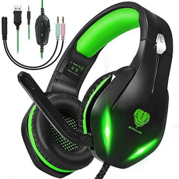 Stereo Gaming Headset with Microphone for PS5 PS4,Nintendo Switch,Xbox One,Laptops,PC,Telephones, Noise Cancelling Over Ear Headphone with Mic & LED Light, 50mm Drivers, 3.5mm Audio Jacks (Shadowy Inexperienced)