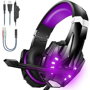 BENGOO Stereo Gaming Headset for PS4, PC, Xbox One Controller, Noise Cancelling Over Ear Headphones with Mic, LED Gentle, Bass Surround, Relaxed Reminiscence Purple