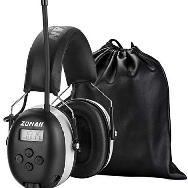 ZOHAN 042 Ear Defenders with Radio, AM/FM Digital Security Ear Protector Muffs, SNR 30dB Hearing Protection, Adjustable Broadcast Noise Reduction, Ideal for Workshop, Mowing, Gardening (Grey)