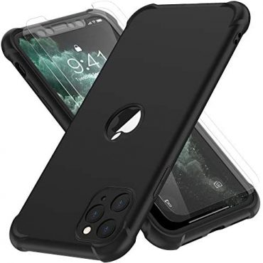 ORETECH Designed for iPhone 11 Skilled Case, with[2x Tempered Glass Screen Protector] Elephantine body Shockproof Heavy Responsibility Protection Extremely Skinny Exhausting PC Silicone TPU Bumper Conceal for iPhone 11 pro-Gloomy