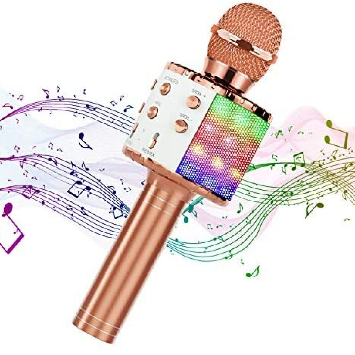 Hiloshine Wireless Microphone Karaoke, 4 in 1 Transportable Karaoke Bluetooth Microphone with Dancing LED Lights Karaoke Machine Speaker for Birthday celebration Formative years Reward, Relish minded with Android iOS Devices (Rose Gold)