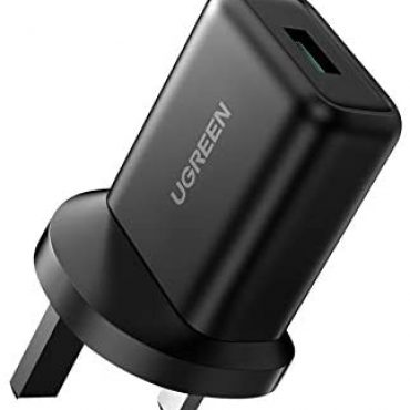 UGREEN QC 3.0 USB Quick Charge Trip UK18W 9V/2A Rapidly Energy Adapter Wall Brick Effectively matched with Samsung S21 S20 S10 S9 A21s A51 A20e,Redmi Existing 9 Mi 10T,Moto G8,Huawei P30,Wireless Charger,iPhone,Tablet