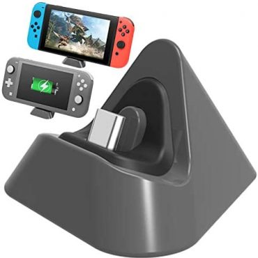 FASTSNAIL Charger Dock for Nintendo Switch/Nintendo Switch Lite, Portable Mini Charging Stand Mark Docking Attach of dwelling for Switch/Switch Lite 2019 Triangle Holder (Grey)