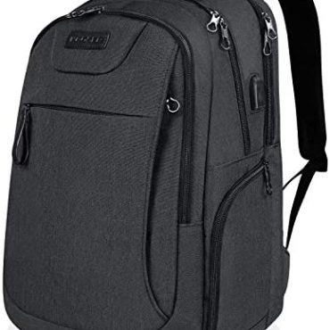 KROSER Pc computer Backpack 17.3 Disappear Exquisite Pc RucksackAnti-Theft Shuttle Industry Backpack with USB Charging Port Water-Repellent Faculty College Daypack for Males/Ladies-Charcoal Gloomy