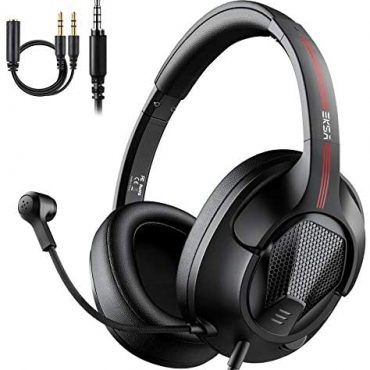 EKSA Gaming Headsets with Microphone, Air Pleasure Light-weight Stereo Encompass Sound Wired Overear PC Pc Gaming Headphones Headset with Mic for PS4 Xbox One PC Mac Pc Smartphones, Dim