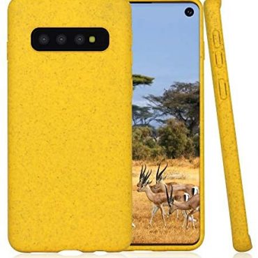 Biodegradable Samsung Galaxy S10 Cell telephone Case,Eco-Expedient,Durable,Slim (Cyber Yellow)