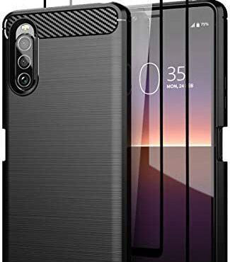 Teayoha Case for Sony Xperia 10 II, with Tempered Glass Screen Protector [2 Pack], Carbon Fiber Scratch Resistant, Shock Absorption Relaxed TPU Drawing Protective Cases Phone Duvet – Sunless