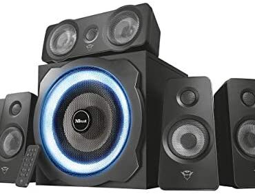 Have confidence Gaming 22004 GXT 658 Tytan 5.1 Encompass Sound Speaker System, PC Speakers with Subwoofer, UK Inch, LED Illuminated, 180 W – Shaded/Blue