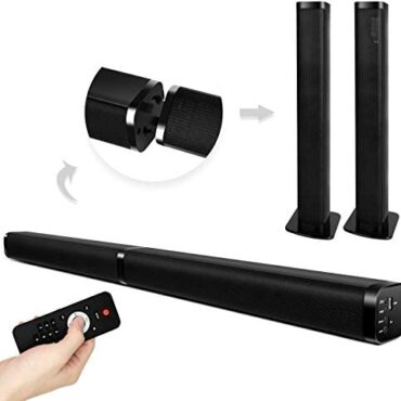 2 in 1 soundbar for TV, 37-Scamper Separable Soundbar 2.0 Channel Wired & Wi-fi Bluetooth TVsurround sound system Twin Stereo AUX/USB Optical Connection with 4 Driver Speakers sound bars for tv