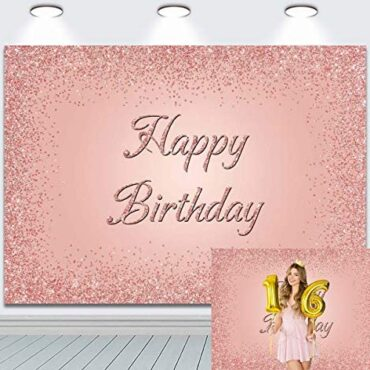 Cheerful Birthday Backdrop for Occasion Pink and Rose Gold Diamonds Glitter Sweet 16th Twentieth Thirtieth Decoration Banner Cake Table Supplies Pictures Background Photo Booth Props