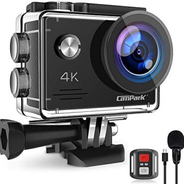 Campark X5 4K 20MP Motion Camera Webcam WiFi EIS Water resistant 40M with Exterior Microphoneand A long way away Regulate, 2 Batteries and Mounting Accessories Kit
