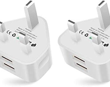 YooGoal® 2 Pack Universal 2-Port USB UK Mains Charger Hasten Wall Adaptor for Love minded with iPhone 11 Expert Max X XS MAX 8 8Plus 7 7Plus 6 6s Plus Pad Pods Samsung Google and Extra (White)