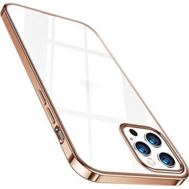 TORRAS Crystal Determined Case for iPhone 12 Pro Max Slim Thin Protective Silicone Determined Case for six.7 gallop Gold Rim