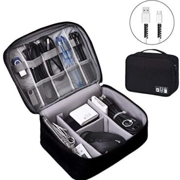 OrgaWise Gear Rep Shuttle Electronics Gear Organiser for Cables, Gear Elevate Storage Case for Energy Bank, Digicam, and Reminiscence Card send 2 pcs Files Line Defend Sets