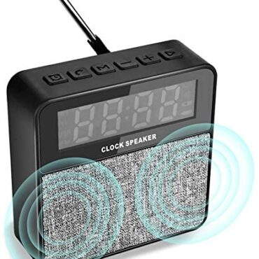 TinMiu Digital Scare Clock with Wireless Bluetooth Speaker, Portable Outside Bluetooth Speaker with FM Radio, Handsfree Calls,Giant Sound, Mic Make stronger TF Card U Disk AUX Enter – Sunless