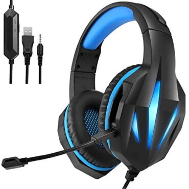 Gaming Headset for Xbox One PS4 PS5, PC Gaming Headphones Over-Ear Stereo Sound Headset, 3.5mm Headphone with Mic Noise Cancelling & Volume Defend an eye on, for PC, Computer, PS5, PS4, Swap (Dim&Blue)