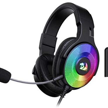 Redragon H350 Pandora RGB Wired Gaming Headset, Dynamic RGB Backlight – Stereo Surround-Sound – 50MM Drivers – Detachable Microphone, Over-Ear Headphones Works for PC/PS4/XBOX One/NS (Gloomy)