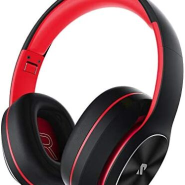 Rydohi Wireless Headphones Over Ear, [100 Hrs Playtime] Bluetooth Headphones, Foldable Hello-Fi Stereo Bass, Soft Memory Earmuffs, Built-in HD Mic, Wired Mode for TV/PC/Phone (Gloomy-Red)