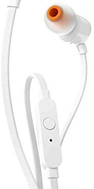 JBL T110 Wired In-Ear Headphones with JBL Pure Bass Sound and Microphone, in White