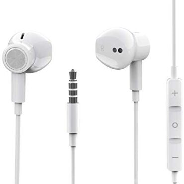 Hi-Res Further Bass Earbuds Noise Atmosphere apart In-Ear Headphones Wired Earbuds with Microphone for iPhone,iPod,iPad,PC,Samsung,HUAWEI,MP3/4,Lightweight Earphones with Volume Control 3.5mm Jack Headphones