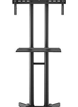 BONTEC Cell TV Stand on Wheels for 32-70 rush LCD LED OLED Plasma Screens, High adjustable Rolling TV Trolley with Tray as a lot as 50kg, Free Standing TV Stand with brackets Max VESA 600x400mm