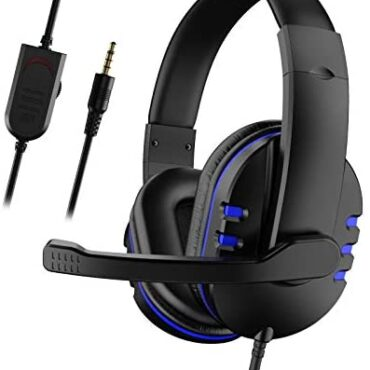 Gaming Headset with Mic for Xbox One/PS4, Over-Ear Noise Isolation Bass Gaming Headphones with Microphone, Encompass Sound, Quantity Retain an eye on (Shaded+Blue)