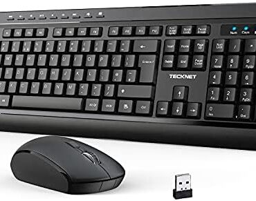 TECKNET Wireless Keyboard and Mouse Put aside, Ergonomic 2.4G Cordless Keyboard & Mouse Combo with Nano USB Receiver for WIN XP/WIN 7/WIN 8/WIN 10/Vista