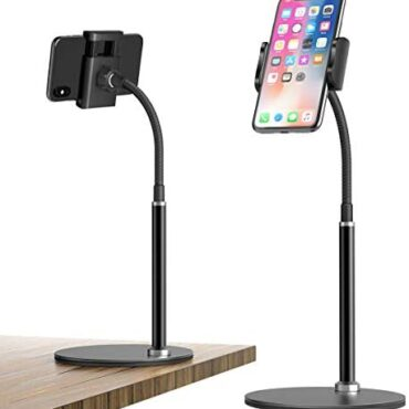 Gooseneck Cell Phone Stand Holder, 360°Versatile Adjustable Desktop Phone Stand with Real Obnoxious, Inactive Desk Stand for iPhone 12 11 Educated Xs Max XR X 8 7 6 6s Plus Samsung S10 S9 S8 S7 S6 (3.5″-6.5″)