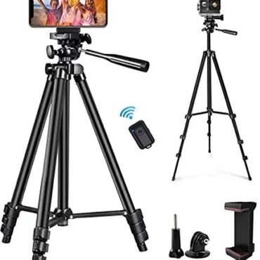 zetong Phone Tripod 50″ Adjustable Shuttle Video Tripod Stand with Phone Mount Holder Bask in minded with Cell Phone Tripod, Stride Digicam Tripod, DSLR Tripod with Wireless A long way away Shutter (Shaded)