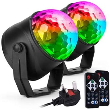 Ecoastal Celebration Disco Lights DJ Ball Strobe Led Rotating 7 Vivid Effects 3 Tune Mode Far flung Controller Sound Activated RGB Rave Dance Lamp for Teenagers Birthday Family Gathering Christmas 2 Pack