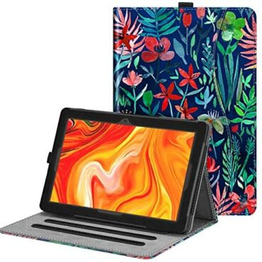 FINTIE Case for Vankyo MatrixPad Z4 10 bound Tablet – [Corner Protection] Multi-Attitude Fingers Free Viewing Folio Smooth Stand Again Duvet with Pocket, Pencil Holder – Jungle Evening