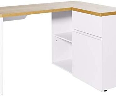 Amazon Tag –Movian Aulne 1-Door 1-Drawer Nook Desk with 2-Storage Compartments, 90 x 117 x 76cm, White/Light Brown Oak-Attain High
