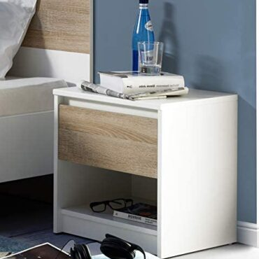 Amazon Trace – Movian Loue 1-Drawer Beside Table with Originate Storage Compartment, 42 x 38 x 46cm, Gentle Brown Oak-Stop/White