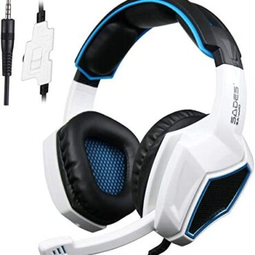 Gaming headset for ps4, SA920 3.5mm Wired Stereo Gaming Over Ear Headset with Microphone and Revolution Quantity Management for Xbox One/Xbox 360 / PS4 / PC/Mobile telephones/iPad (Black/White)