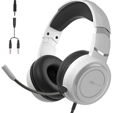 MageGee E6 Gaming Headset, Over-Ear Wired Gaming Headset with Microphone, Adjustable Scarf, Volume Management, 3.5mm Jack Gaming Headphone for PS4, PC, Xbox One, Smartphone (White)