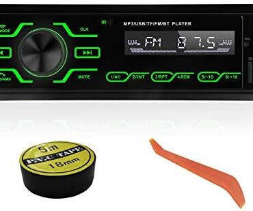 Automobile Radio Bluetooth Fingers-Free, 1 DIN universal Automobile Stereo constructed-in microphone, Toughen USB/TF/SD/AUX Automobile MP3 Media Player with 5 Vibrant Lights