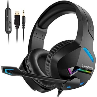 BINNUNE Gaming Headset with Microphone for PS4 PS5 Xbox One PC, Playstation4 5 Headphones Mic