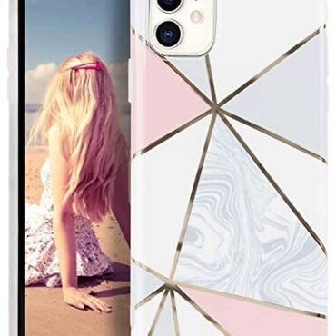 Imikoko iPhone 11 Marble Case 6.1″ Thin Glitter Striped Sparkle Phone Duvet Shockproof Obvious Bumper Sleek Bling Gentle Silicone Protective Cases – Crimson Gray Irregular