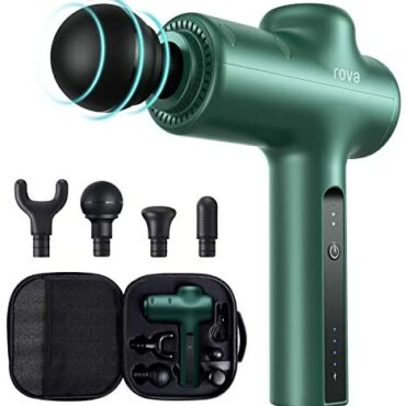 Rova Mini Rubdown Gun, 3 Speeds Handheld Muscle Rubdown Gun Deep Tissue, Portable Muscle Rubdown Gun with 4 Massager Heads, Neck Encourage Massager for Body Muscle Rubdown Wretchedness Relief Successfully being Restoration