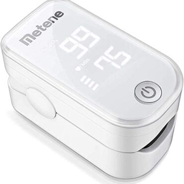 Metene Pulse Oximeter Fingertip, Blood Oxygen Saturation Video display with Pulse Charge and Correct Rapid Spo2 Reading Oxygen Meter, Portable Oximeter with Lanyard and Batteries (White)