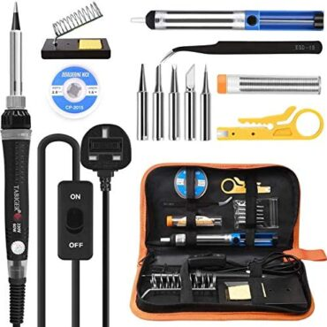 Soldering Iron Equipment, Tabiger 60W Welding Tools with Adjustable Temp 200-450°C and ON/Off Switch, 5 Soldering Guidelines, Desoldering Pump, Solder Wire, Wire Stripper Cutter, Stand, Instrument Case